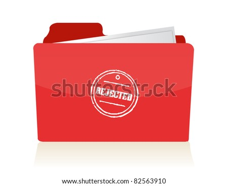 file folder with rejected documents illustration - stock photo