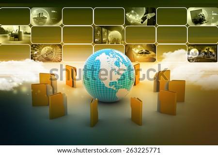 File folders around Earth - stock photo