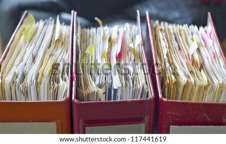 file folders, close up, selective focus - stock photo