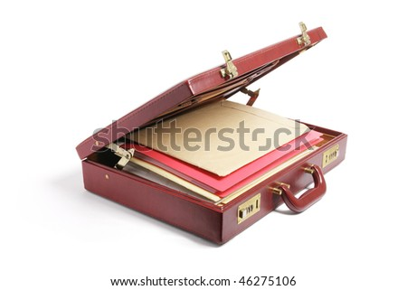 File Folders in Briefcase on White Background - stock photo