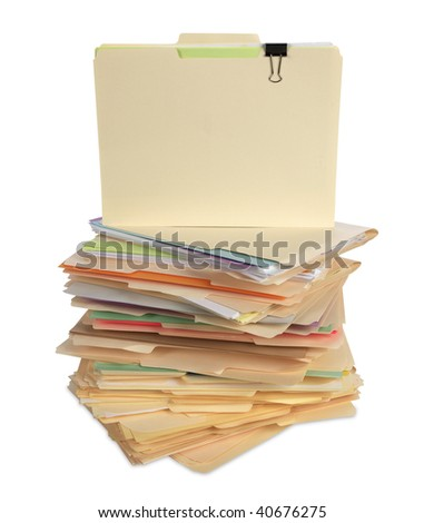File Folders Isolated with copy space - stock photo