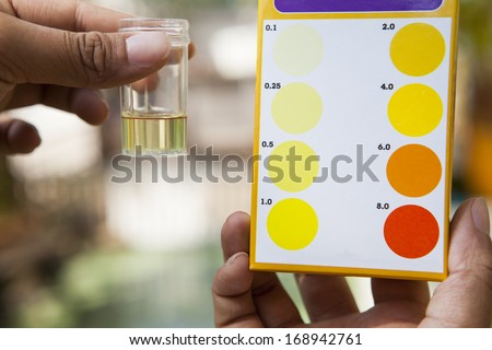 file hand holding chlorine  testing tube compared with chlorine color testing chart use for multipurpose science reserch and clean environment - stock photo