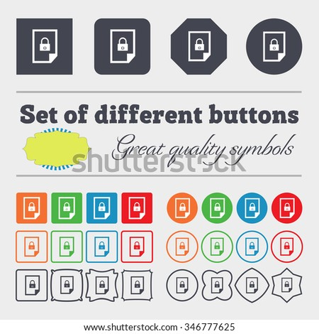 File locked icon sign. Big set of colorful, diverse, high-quality buttons. illustration - stock photo