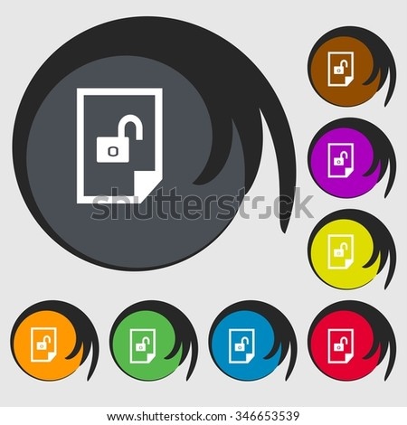 File locked icon sign. Symbols on eight colored buttons. illustration - stock photo