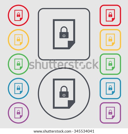 File locked icon sign. Symbols on the Round and square buttons with frame. illustration - stock photo