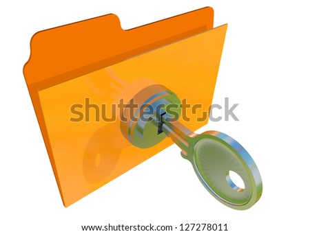 FILE LOCKED WITH PASSWORD - 3D - stock photo