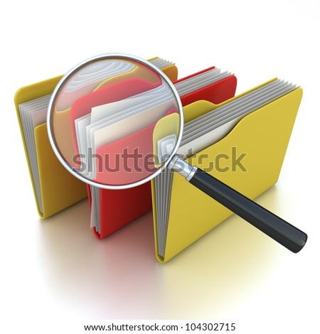 File search concept: folders and magnifying glass - stock photo