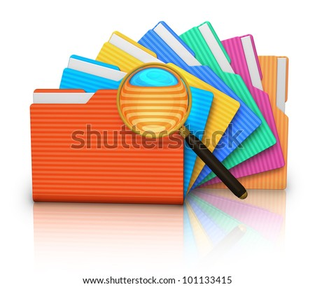 File search concept: group of color folders and magnifying glass isolated on white background with reflection effect - stock photo