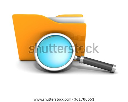 File search concept. Paper document folder and magnifying glass. 3d render illustration - stock photo