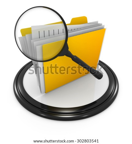 File searching icon , This is a computer generated and 3d rendered picture. - stock photo