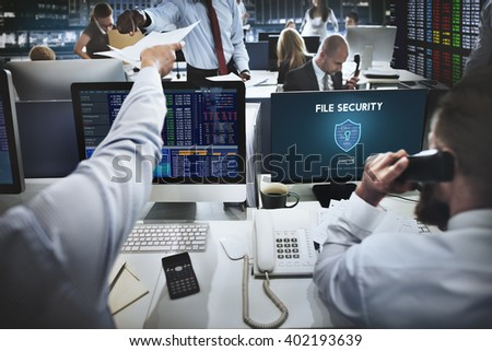 File Security Online Security Protection Concept - stock photo