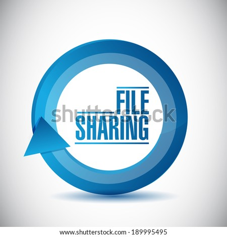 file sharing cycle illustration design over a white background - stock photo