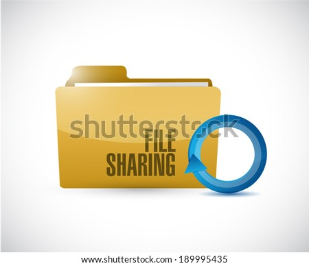 file sharing folder cycle illustration design over a white background - stock photo