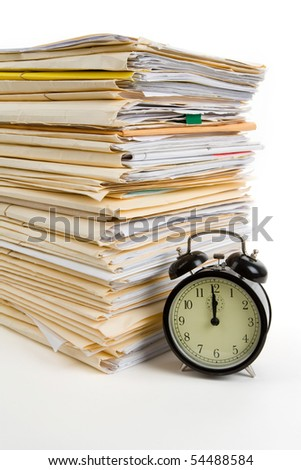 File Stack and clock with white background - stock photo