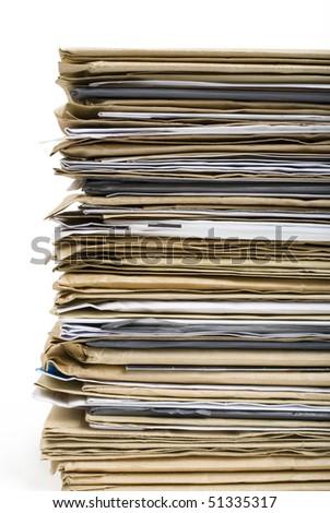 File Stack close up shot on white background - stock photo