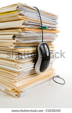 File Stack, Computer Mouse, business concept - stock photo