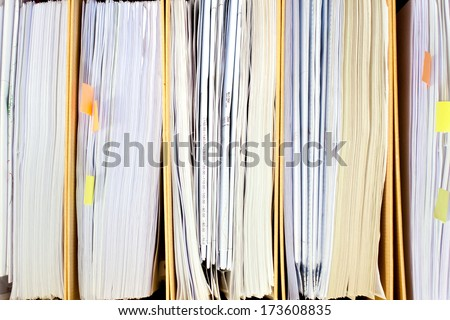 File Stack, file folder close up for background. - stock photo