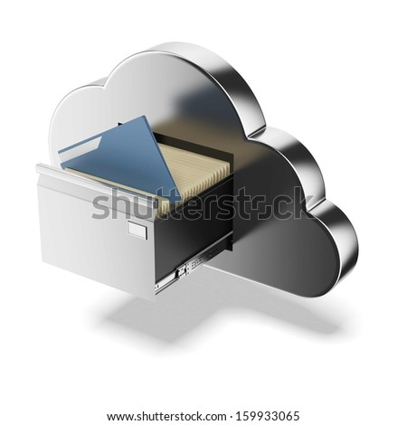 File storage in cloud - stock photo