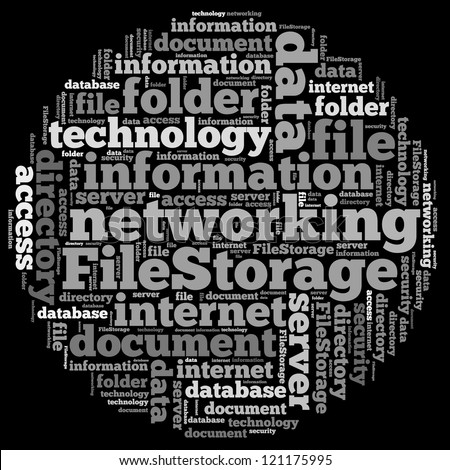 File storage info-text graphics and arrangement concept on white background (word cloud)