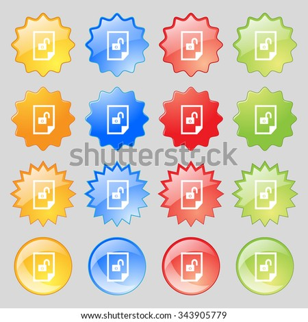 File unlocked icon sign. Big set of 16 colorful modern buttons for your design. illustration - stock photo