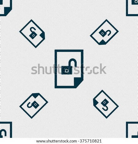 File unlocked icon sign. Seamless pattern with geometric texture. illustration - stock photo