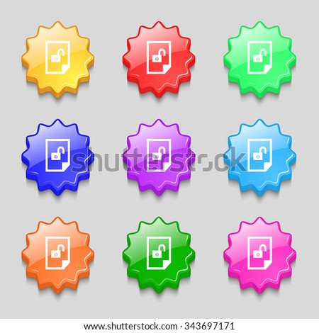File unlocked icon sign. Symbols on nine wavy colourful buttons. illustration - stock photo