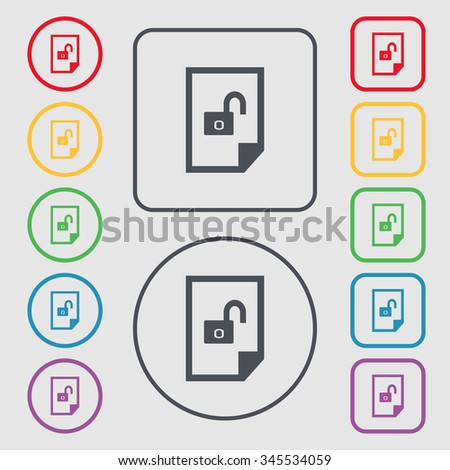 File unlocked icon sign. Symbols on the Round and square buttons with frame. illustration - stock photo
