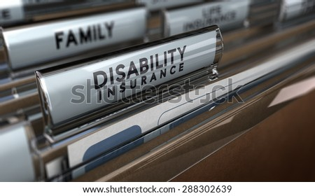 File with focus on the text Disability Insurance and blur effect. Concept of individual protection. - stock photo