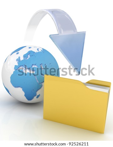 Files download. 3d illustration. - stock photo