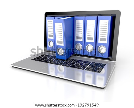 files in database - laptop with ring binders. 3d illustration isolated on white background - stock photo