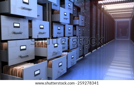 Files in the storage room - stock photo