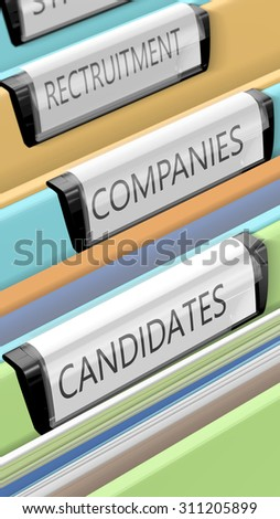 Files on candidates and company positions. Some enterprises. Many candidates. 3d render. - stock photo