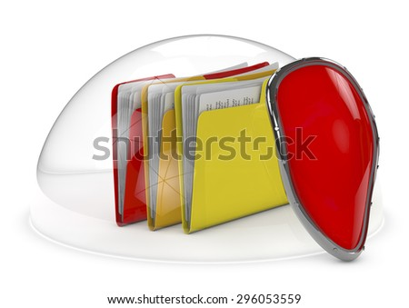 files protected by a dome and a shield, 3d image. - stock photo