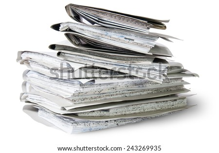 Files Stacking Up In A Messy Order Rotated Isolated On White Background