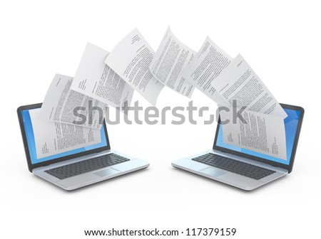 Files transfer between laptops. 3d illustration. - stock photo