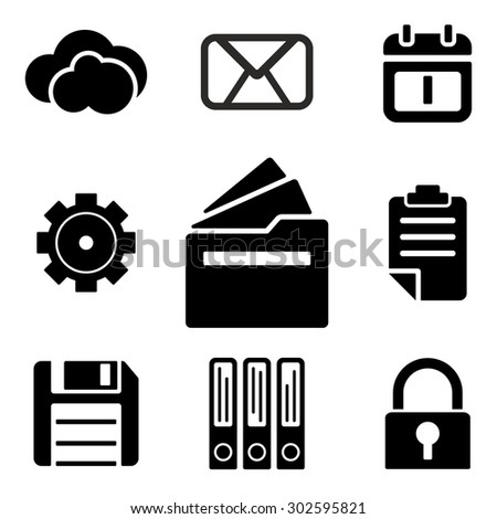 Files web and mobile logo icons collection isolated on white back. Symbols of documents, lock, gear and etc - stock photo