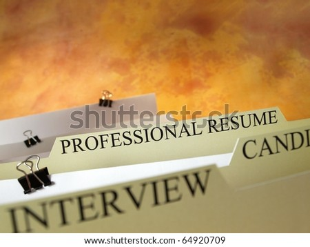 Files with professional resume - stock photo
