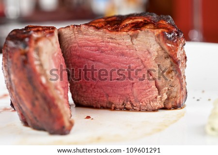 Filet mignon, char-grilled to medium rare - stock photo