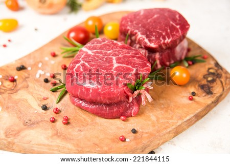 Filet Mignon Tied with String Ready for Grilling  - stock photo