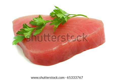 filet of tuna and parsley