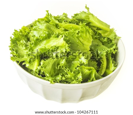Filey Iceberg lettuce fresh in white bowl - stock photo