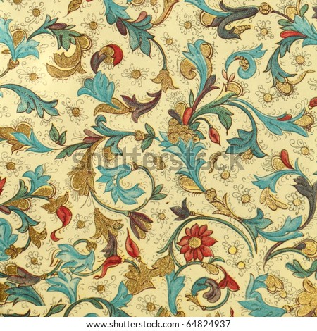 filigree floral decorative paper from Florence - stock photo