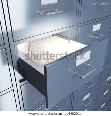 Filing cabinet for documents with letters. 3d render illustration - stock photo