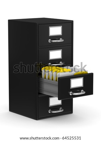 Filing cabinet on white. Isolated 3D image - stock photo