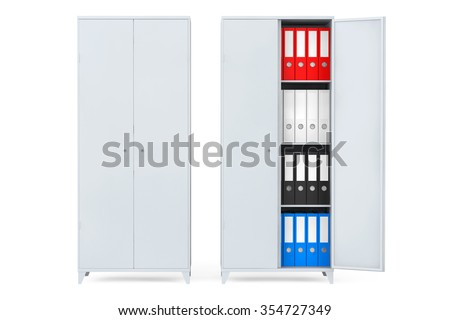 Filing Cabinets with Office Folders on a white background - stock photo