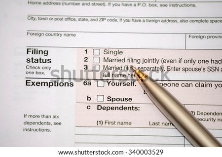 filing federal income tax form - stock photo