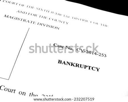 Filing Legal papers as a Lawsuit for Bankruptcy protection - stock photo