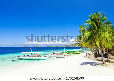Filipino boat in the sea, Boracay, Philippines - stock photo