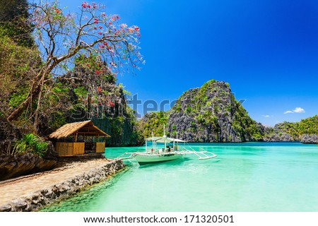 Filipino boat in the sea, Coron, Philippines - stock photo