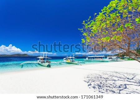 Filipino boats in the sea, Boracay, Philippines - stock photo
